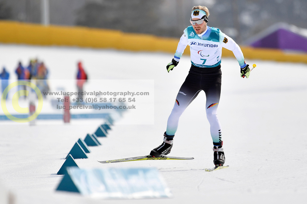 LEHMKER Steffen GER LW8 competing in the ParaSkiDeFond, Para Nordic Skiing, 20km at  the PyeongChang2018 Winter Paralympic Games, South Korea.