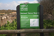 English nature sign, Benacre, national nature reserve, Suffolk, England