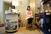 Alexis Clare, 28, of Dallas sits at the workstation of her online business, Whipped Up Wonderful, at her home in Dallas, Texas, on January 31, 2013.  (Stan Olszewski/The Dallas Morning News)