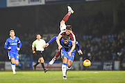 Gillingham's Baily Cargill under pressure during the EFL Sky Bet League 1 match between Gillingham and Northampton Town at the MEMS Priestfield Stadium, Gillingham, England on 12 November 2016. Photo by Martin Cole.