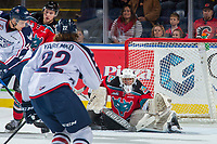 KELOWNA, CANADA - OCTOBER 27: James Porter #1 of the Kelowna Rockets makes a save against the Tri-City Americans on October 27, 2017 at Prospera Place in Kelowna, British Columbia, Canada.  (Photo by Marissa Baecker/Shoot the Breeze)  *** Local Caption ***