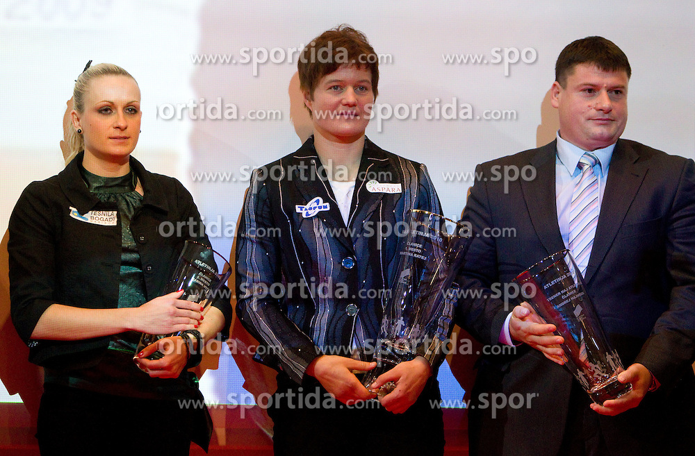 Third placed Sabina Veit and winner Martina Ratej pose with their Athlete of the Year Award and best coach Andrej Hajnsek  during the Slovenia's Athlete awards ceremony by Slovenian Athletics Federation AZS, on November 12, 2008 in Hotel Mons, Ljubljana, Slovenia.(Photo By Vid Ponikvar / Sportida.com) , on November 12, 2010.