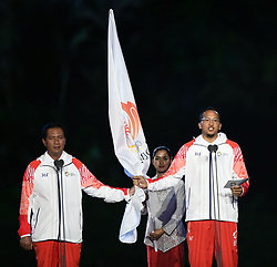 JAKARTA, Aug. 18, 2018  An oath taking ceremony is held at the opening ceremony of the 18th Asian Games in Jakarta, Indonesia, Aug. 18, 2018. (Credit Image: © Yue Yuewei/Xinhua via ZUMA Wire)
