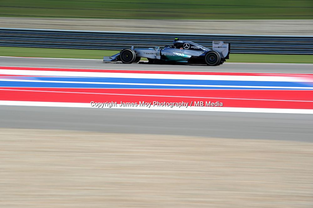 Nico Rosberg (GER) Mercedes AMG F1 W05.<br /> United States Grand Prix, Friday 31st October 2014. Circuit of the Americas, Austin, Texas, USA.