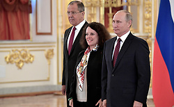 October 3, 2017 - Moscow, Russia - October 3, 2017. - Russia, Moscow. - Russian President Vladimir Putin and Ambassador Extraordinary and Plenipotentiary of the French Republic to Russia Sylvie Bermann at a ceremony to present letters of credence in the Alexander Hall of the Grand Kremlin Palace. Left: Russian Foreign Minister Sergey Lavrov. (Credit Image: © Russian Look via ZUMA Wire)