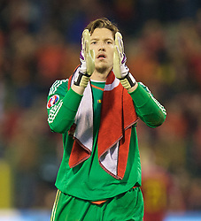 BRUSSELS, BELGIUM - Sunday, November 16, 2014: Wales' goalkeeper Wayne Hennessey celebrates a point and staying top of the group after the final whistle of a goal-less draw against Belgium during the UEFA Euro 2016 Qualifying Group B game at the King Baudouin [Heysel] Stadium. (Pic by David Rawcliffe/Propaganda)