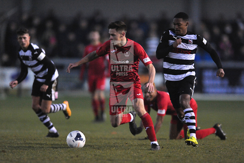TELFORD COPYRIGHT MIKE SHERIDAN Ryan Barnett on the ball during the Vanarama Conference North fixture between Darlington and AFC Telford United at Blackwell Meadows on Saturday, November 30, 2019.<br /> <br /> Picture credit: Mike Sheridan/Ultrapress<br /> <br /> MS201920-032