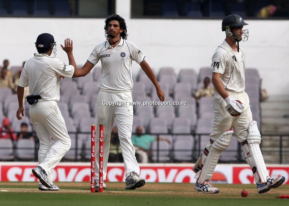 Indian bowler Ishant Sharma celebrates with team mate New Zealand batsman Andy McKay wicket during The India vs New Zealand 3rd test match day-2 Played at Vidarbha Cricket Association Stadium, Jamtha, Nagpur, 21, November 2010 (5-day match)
