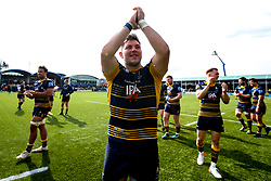Ethan Waller of Worcester Warriors celebrates beating Gloucester Rugby and securing Premiership Rugby status - Mandatory by-line: Robbie Stephenson/JMP - 28/04/2019 - RUGBY - Sixways Stadium - Worcester, England - Worcester Warriors v Gloucester Rugby - Gallagher Premiership Rugby