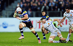 Dave Attwood of Bath Rugby takes on the Exeter Chiefs defence - Mandatory byline: Patrick Khachfe/JMP - 07966 386802 - 31/12/2016 - RUGBY UNION - The Recreation Ground - Bath, England - Bath Rugby v Exeter Chiefs - Aviva Premiership.