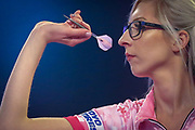 Fallon Sherrock (England) during her Second Round game against Mensur Suljovic (Serbia) (not in picture) in the PDC William Hill World Darts Championship at Alexandra Palace, London, United Kingdom on 21 December 2019.