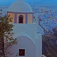 Europe, Mediterranean, Aegean, Greece, Greek Islands, Santorini, Thira. Scenic view of this popular tourist destination and cruise port.
