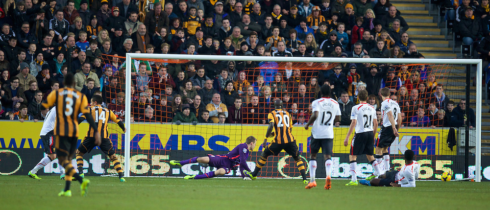 HULL, ENGLAND - Sunday, December 1, 2013: Liverpool's goalkeeper Simon Mignolet is beaten for the second Hull City goal during the Premiership match at the KC Stadium. (Pic by David Rawcliffe/Propaganda)