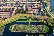 Nederland, Zuid-Holland, Schoonhoven, 28-10-2014; stadsgezicht met  in de voorgrond de ijsbaan annex volkstuinen en de watertoren.<br /> luchtfoto (toeslag op standard tarieven); aerial photo (additional fee required); <br /> copyright foto/photo Siebe Swart