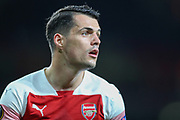 Arsenal midfielder Granit Xhaka (34) during the Europa League semi-final leg 1 of 2 match between Arsenal and Valencia CF at the Emirates Stadium, London, England on 2 May 2019.