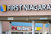 A First Niagara Bank branch in Rochester, NY is within sight of a KeyBank branch on Friday, October 30, 2015. Ohio-based KeyCorp announced Friday that it would purchase First Niagara for $4.1 billion. Photographer: Mike Bradley/Bloomberg