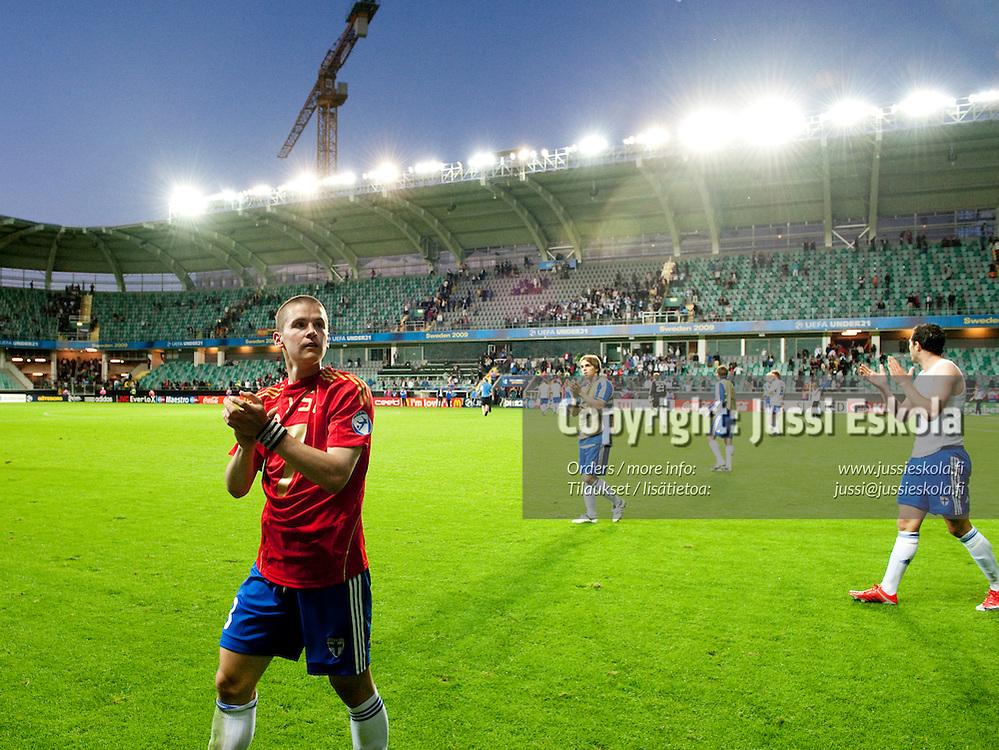 Jukka Raitala. Suomi - Espanja. Alle 21-vuotiaiden EM-turnaus, Gamla Ullevi, Göteborg, Ruotsi 22.6.2009. Photo: Jussi Eskola