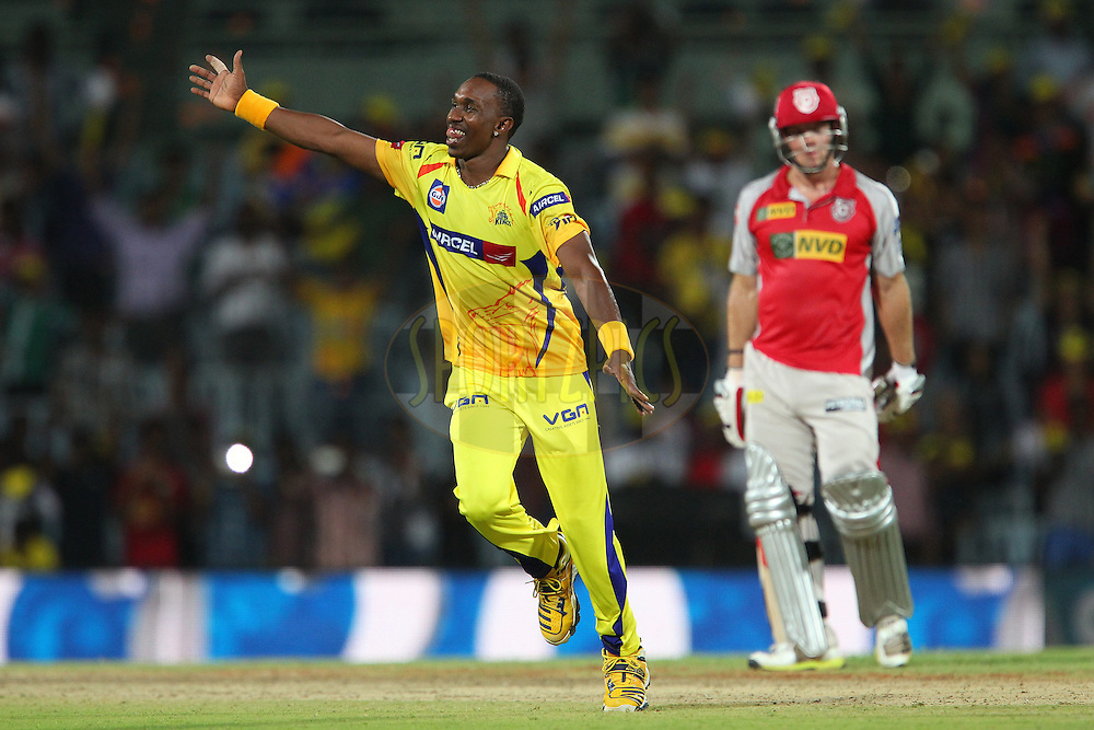 Dwayne Bravo celebrates the win during match 45 of the Pepsi Indian Premier League between The Chennai Superkings and the Kings XI Punjab held at the MA Chidambaram Stadium in Chennai on the 2nd May 2013..Photo by Ron Gaunt-IPL-SPORTZPICS   .. .Use of this image is subject to the terms and conditions as outlined by the BCCI. These terms can be found by following this link:..http://www.sportzpics.co.za/image/I0000SoRagM2cIEc