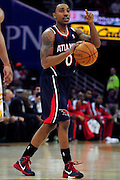 March 27, 2011; Cleveland, OH, USA; Atlanta Hawks guard Jeff Teague (0) calls a play during the third quarter against the Cleveland Cavaliers at Quicken Loans Arena. The Hawks beat the Cavaliers 99-83. Mandatory Credit: Jason Miller-US PRESSWIRE