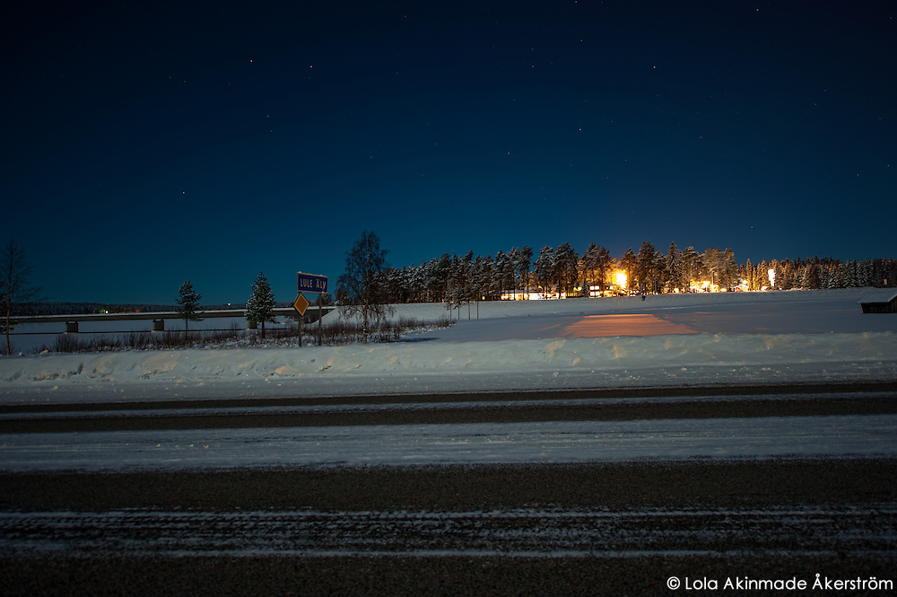 Snow and ice covered landscape in Northern Sweden