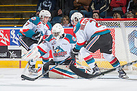 KELOWNA, CANADA - MARCH 1: Michael Herringer #30 of the Kelowna Rockets defends the net against the Prince George Cougars  on MARCH 1, 2017 at Prospera Place in Kelowna, British Columbia, Canada.  (Photo by Marissa Baecker/Shoot the Breeze)  *** Local Caption ***