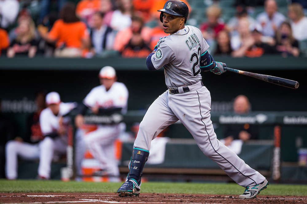 BALTIMORE, MD - MAY 20:  Robinson Cano #22 of the Seattle Mariners looks on bats the game against the Baltimore Orioles at Oriole Park at Camden Yards on May 20, 2015 in Baltimore, Maryland. (Photo by Rob Tringali) *** Local Caption *** Robinson Cano