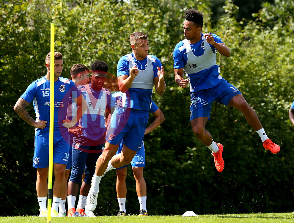 Lee Brown of Bristol Rovers and Dominic Thomas of Bristol Rovers in action during training - Mandatory by-line: Robbie Stephenson/JMP - 31/07/2017 - FOOTBALL - Bristol Rovers Training Ground - Bristol, England - Bristol Rovers Training