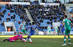 Alex Palmer of Plymouth Argyle makes a save from Theo Robinson of Colchester United - Mandatory by-line: Arron Gent/JMP - 08/02/2020 - FOOTBALL - JobServe Community Stadium - Colchester, England - Colchester United v Plymouth Argyle - Sky Bet League Two