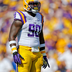 Oct 12, 2013; Baton Rouge, LA, USA; LSU Tigers defensive tackle Anthony Johnson (90) against the Florida Gators during the first quarter of a game at Tiger Stadium. Mandatory Credit: Derick E. Hingle-USA TODAY Sports