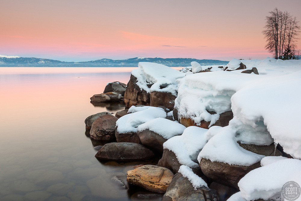 """Sunset at Lake Tahoe 34"" - Photograph at sunset of snow covered boulders along the shore of Lake Tahoe, near Kaspian Point in Hurricane Bay."