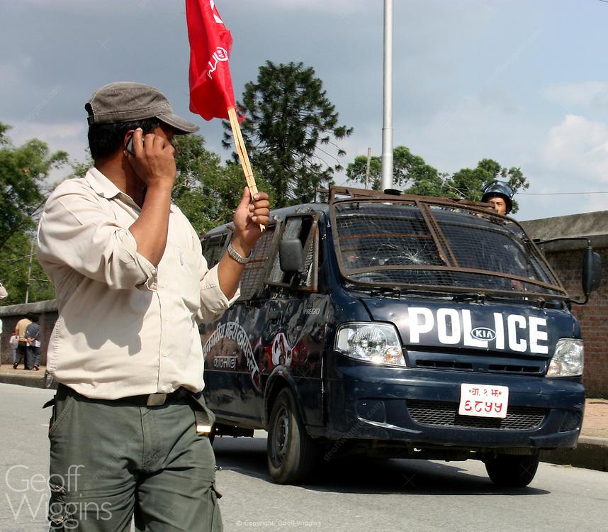 Nepali riot police confront Marxist protesters during civil disturbances, Kathmandu, Nepal, 2009