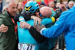 Winner Jakob Fuglsang (DEN) Astana Pro Team (KAZ,WT,Argon 18) after the finish during the 2019 Li&egrave;ge-Bastogne-Li&egrave;ge (1.UWT) with 256 km racing from Li&egrave;ge to Li&egrave;ge, Belgium. 28th April 2019. Picture: Pim Nijland | Peloton Photos<br /> <br /> All photos usage must carry mandatory copyright credit (Peloton Photos | Pim Nijland)