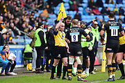 Wasps scrum half Dan Robson (9) questions the line judge's decision during the Aviva Premiership match between Wasps and London Irish at the Ricoh Arena, Coventry, England on 4 March 2018. Picture by Dennis Goodwin.
