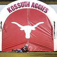 Adam Robison | BUY AT PHOTOS.DJOURNAL.COM<br /> Kossuth fan Easton Brooks, 5 of Kossuth, rolls out of the inflatable prior to the kickoff of the Kossuth and East Side game.
