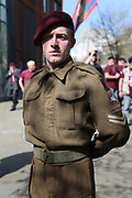 WW2 out fit during the demonstration in support of Soldier F by former service personnel in Central Manchester on 19 April 2019.