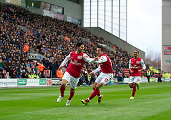 03.12.2011, DW Stadium, Wigan, ENG, Premier League, Wigan Athletic vs FC Arsenal, 14. Spieltag, im Bild Arsenal's Mikel Arteta celebrates scoring the first goal against Wigan Athletic with team-mate captain Robin van Persie // during the football match of english Premier League, 14th round between Wigan Athletic an FC Arsenal at DW Stadium, Wigan, ENG on 2011/12/03. EXPA Pictures © 2011, PhotoCredit: EXPA/ Sportida/ David Rawcliff..***** ATTENTION - OUT OF ENG, GBR, UK *****