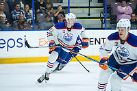 PENTICTON, CANADA - SEPTEMBER 16: Dallas Valentine #91 of Edmonton Oilers skates against the Vancouver Canucks on September 16, 2016 at the South Okanagan Event Centre in Penticton, British Columbia, Canada.  (Photo by Marissa Baecker/Shoot the Breeze)  *** Local Caption *** Dallas Valentine;