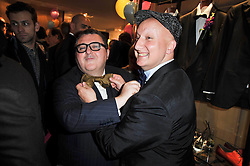 Left to right, ALBER ELBAZ and STEPHEN JONES at the launch party of 'Songs For Sorrow' hosted by Alber Elbaz and Mika held at Lanvin, 32 Savile Row, London on 11th November 2009.