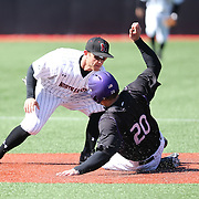 Michael Foster #12 of the Northeastern Huskies puts a tag down on Jordan Schwartz #20 of the Niagara Purple Eagles during the game at Friedman Diamond on March 16, 2014 in Brookline, Massachusetts. (Photo by Elan Kawesch)