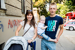 Marko Kump with his family during Stage 1 of 21st Tour of Slovenia 2014 - Time Trial 8,8 km cycling race in Ljubljana, on June 19, 2014 in Slovenia. Photo By Vid Ponikvar / Sportida