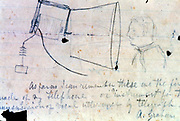 Alexander Graham Bell (1847-1922) Scottish-born American inventor. Sketch of his telephone of 1876. Library of Congress