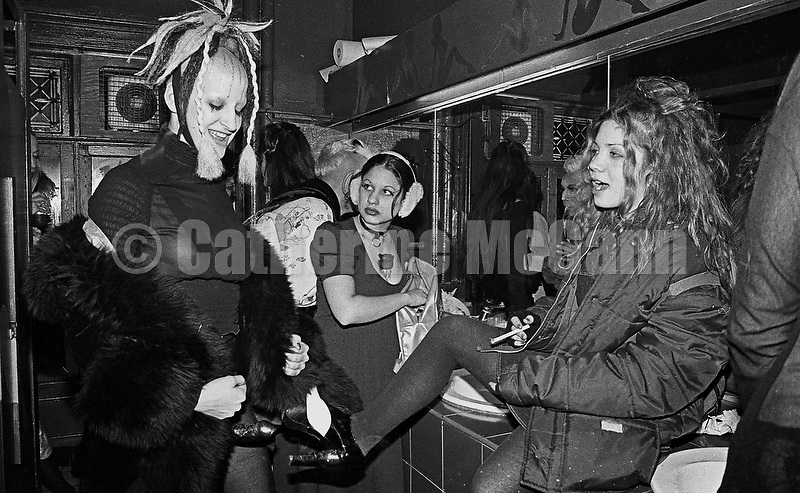Winter 1994:  The scene inside the women's bathroom  at the Club Kid King and Queen of Manhattan contest at Limelight nightclub in New York City, WInter, 1994