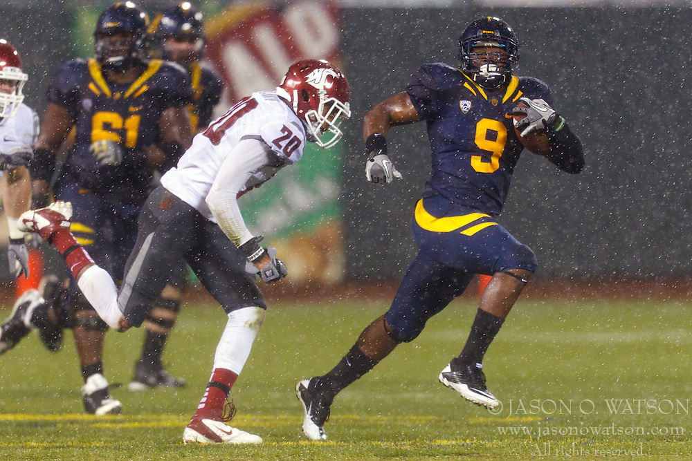 Nov 5, 2011; San Francisco CA, USA;  California Golden Bears running back C.J. Anderson (9) rushes up field past Washington State Cougars safety Deone Bucannon (20) during the fourth quarter at AT&T Park.  California defeated Washington State 30-7. Mandatory Credit: Jason O. Watson-US PRESSWIRE