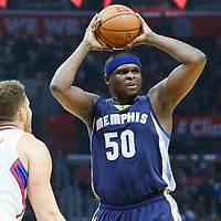 12 April 2016: Memphis Grizzlies forward Zach Randolph (50) passes the ball over Los Angeles Clippers forward Blake Griffin (32) during the Los Angeles Clippers 110-84 victory over the Memphis Grizzlies, at the Staples Center, Los Angeles, California, USA.