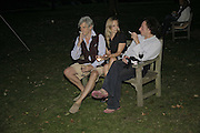 TIM BURKE, GEORGIE HENCKEN AND OLLY CLARIDGE, Rachel Johnson celebratespublication of ' Notting Hell'. Communal Gardens. Ladbroke Grove. London. 4 September 2006. .ONE TIME USE ONLY - DO NOT ARCHIVE  © Copyright Photograph by Dafydd Jones 66 Stockwell Park Rd. London SW9 0DA Tel 020 7733 0108 www.dafjones.com