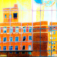Minneapolis buildings reflection digitally enhanced