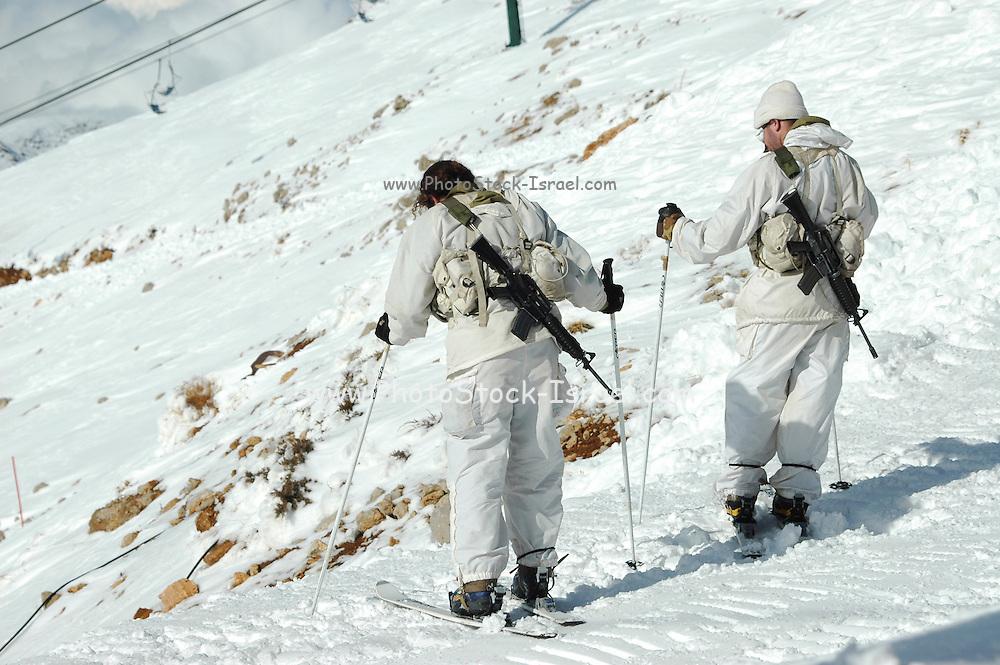 Israel, Hermon Mountain Israeli Soldiers on patrol