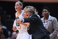 Nov 15, 2012; Knoxville, TN, USA; Tennessee Lady Volunteers head coach Holly Warlick shouts to her team during the game against the Rice Owls at Thompson Boling Arena. Mandatory Credit: Randy Sartin-US PRESSWIRE