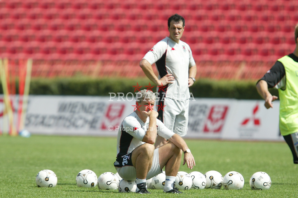 BELGRADE, SERBIA & MONTENEGRO - Tuesday, August 19, 2003: Wales' manager Mark Hughes training at the Red Star Stadium ahead of his side's UEFA European Championship Group 9 qualifying match against Serbia & Montenegro. (Photo by David Rawcliffe/Propaganda)