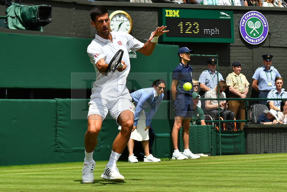 © Licensed to London News Pictures. 27/06/2016. NOVAK DJOKOVIC play a first round match against JAME WARD on the first day of the WIMBLEDON Lawn Tennis Championships in London, UK. Photo credit: Ray Tang/LNP